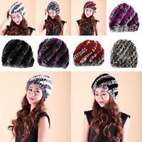 HN- KE_ Women Fashion Winter Warm Hats Twill Rex Rabbit Fur Hat Knitting Beanie