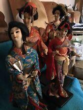 Lot Of 4 Vintage Japanese Geisha Gofun Dolls Wearing Kimonos On Wooden Stands