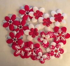Christmas Embellishments Red, White & Silver 14