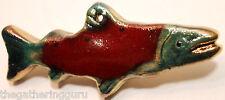 Raku Sockeye Salmon Christmas Ornament Fish Fishing Alaska Pacific Northwest Art