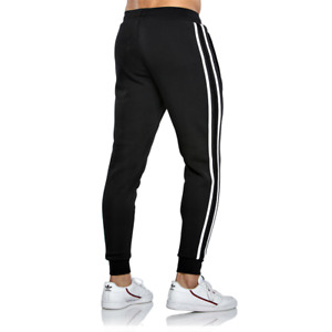 New Mens Striped Slim Fit Tracksuit Jogging Bottoms Joggers Sweat Pants Trousers