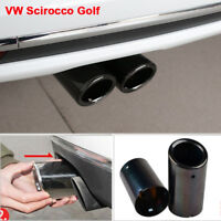 2×Black Stainless Steel Exhaust Tail pipe Trim Tip for VW Scirocco Golf VI VII