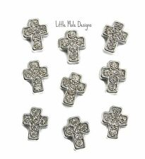 Crystal Silver 'Cross' Floating Charm For Living Memory Locket Pendant Religious