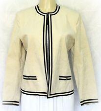 Vintage Adolph Schuman for Lilli Ann Beige Tan Cream Open Jacket Blazer Black 12