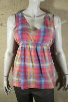 TEDDY SMITH Taille 3 - 40 Superbe haut top débardeur tee shirt femme carreaux ro