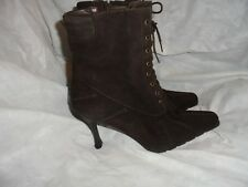 STUART WEITZMAN WOMEN BROWN SUEDE LEATHER LACE/ZIP ANKLE BOOT SIZE UK 5.5 US 8.5