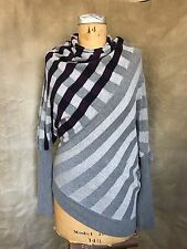 Michel Rene Purple Gray Soft Ribbed PLAID STRIPE COWL SWEATER Art-To-Wear 38 M
