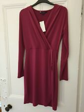 French Connection Dahlia Pink Bodycon Wrap Dress New With Tags Size 10