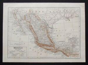 Antique Map: Mexico, Encyclopedia Britannica, 1910, Bi-Colour