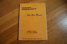Toyota Model Fd100 10 Ton Forklift Flat Rate Repair Service Time Estimate Manual