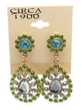 "CIRCA 1900 JEWELRY Goldtone Tear Drop with Green Crystal Dangle Earrings 2"""