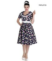 Hell Bunny 50s Pin Up Dress EMMA Navy Blue Flowers Polka Dot All Sizes