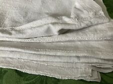 """More details for antique home spun french rustic linen tablecloth {oatmeal} 60""""66.5"""""""