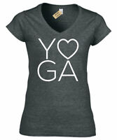 Womens Yoga LOVE T-Shirt Workout Gym Fitness ladies V-Neck top