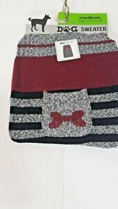 Dog Sweater Gary Burgundy And Black With Bone Pocket Sizes Varies