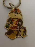 Vintage 1984 Park BEAR Cleaning Gold Tone Enameled Metal Keychain RARE EUC