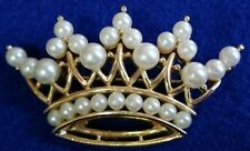 Vintage signed Trifari gold and pearl regal crown brooch