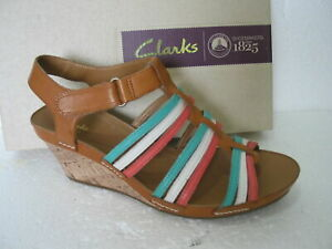 NEW CLARKS LADIES RUSTY LADY TAN COMBI LEATHER WEDGE HEEL SANDALS FIT D