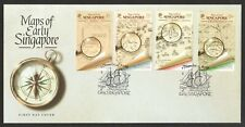 SINGAPORE 2020 MAPS OF THE EARLY SINGAPORE FIRST DAY COVER WITH SET OF 4 STAMPS