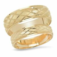 14K Yellow Gold His And Hers Diamond Shape Matching Wedding Band Ring Set Duo