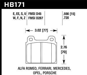 Disc Brake Pad Set Front Hawk Perf HB171Z.590