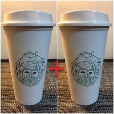 2x Starbucks Reusable Tumbler EARTH DAY Coffee Tea Cup Tumbler Travel Lid- 16 oz