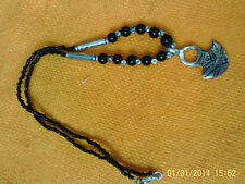 Moroccan Berber Jewelry: Black beaded & Silver coloured small 'Spade' Necklace