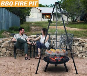 Outdoor BBQ Fire Pit Bowl Tripod Hanging Grill adjustable Camping Heater Burner