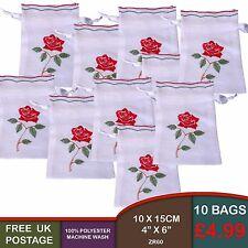 10 rose brodé lin look cordon de sacs cadeau lavande pétale pot pourri