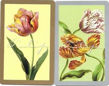 SWAP PLAYING CARDS   - 1 PAIR OF  VINTAGE  CARDS   # 93  -  FLOWERS,PATTERNS,ETC
