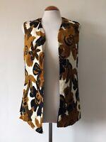 Vintage 70s Tapestry Gilet Gillet Waistcoat Hippie Boho Brown Floral Top