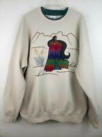 Vintage Aztec Native Indian Lady Southwestern Embroidered Boho Sweatshirt L/XL