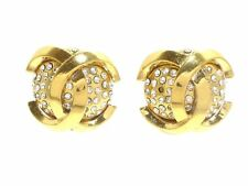 Auth CHANEL Gold Hardware Rhinestones Earrings (clip-on)