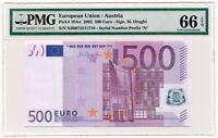 EUROPEAN UNION (AUSTRIA) banknote 500 Euro 2002 PMG MS 66 EPQ Gem Uncirculated