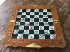 Vtg Asian Chess Set Carved Jade And Jasper Soapstone Chess Pieces Tile