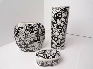 1980's Black & White Rose Set Dyann Carr Otagiri Japan Vases & Trinket Box