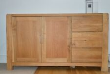 LARGE Long Solid Wood Sideboard 3 drawers 2 doors Oak Furniture Vintage Style