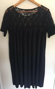 ASOS MATERNITY Size 12 Or M Black Pleated Lace Insert Dress