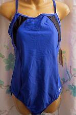 Speedo Misses Women's 14 Padded Fitness Cobalt Blue Black Swimsuit 1 Pc