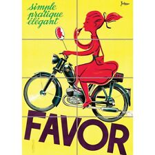 Advert Transport Motorcycle Favor Girl Mirror France Picture Print Poster