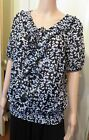 Millers black and white floral short sleeved top size 10