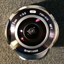 7.5mm SAMYANG MFT LENS MICRO FOUR THIRDS - EXCELLENT COND.