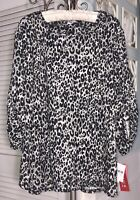 New Plus Size 3X Black Sweater Gray Leopard Print Animal Stud Top Shirt $48