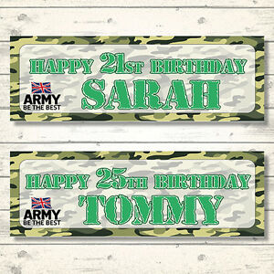 2 PERSONALISED ARMY BIRTHDAY BANNERS - ANY NAME - ANY AGE - CAMOUFLAGE