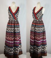 WOMENS Beaded Boho TRIBAL Print LONG DRESS SZ 10 BACKYARD CHARTER CLUB MAXI