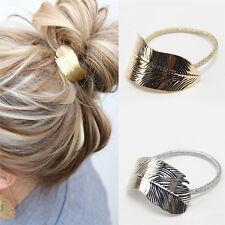 2Pcs gold silver Women Leaf Hair Band Rope Headband Elastic Ponytail Holder set