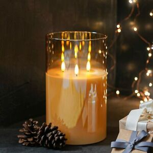 3 Wick Remote Control LED Flameless Real Wax Flickering Amber Glass Candle Light