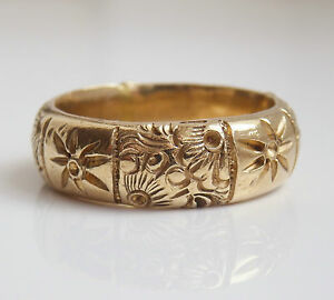 Fine Antique Victorian 15ct Gold Floral Engraved Wedding Ring c1900; UK Size 'O'