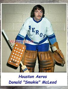 WHA Houston Aeros Goalie Don Smokie McLeod Color 8 X 10 Photo Picture