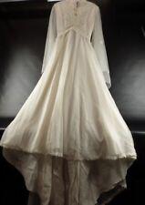 Vintage 1970 Wedding Dress Gown Bohemian Long Sleeve Ivory Sz. 2